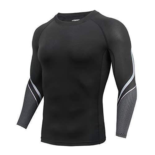 AMZSPORT Maglia a Compressione Uomo, Manica Lunga T-Shirt per Sport Fitness Corsa Ciclismo, Nero L