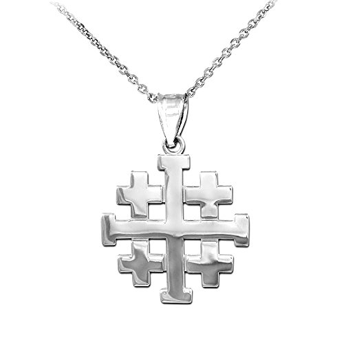 Religious Jewelry by FDJ Polished Finish 925 Sterling Silver Crusaders Jerusalem Cross Pendant Necklace, 16'