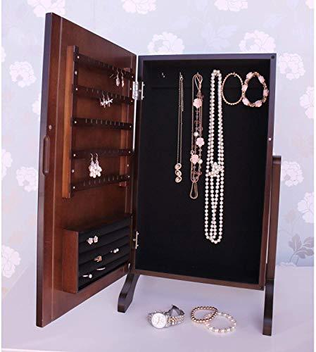Donker houten dressoir tafel gespiegelde sieradenkast met houten bekleding