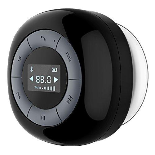 VTIN Relaxer Enceinte Bluetooth Portable, FM Radio de Douche Haut-Parleur Etanche, Ecran LCD, Temps de Lecture de 10 Heures, Micro Intégré, avec Ventouse, Mini Enceinte Sans Fil pour Salle de Bain