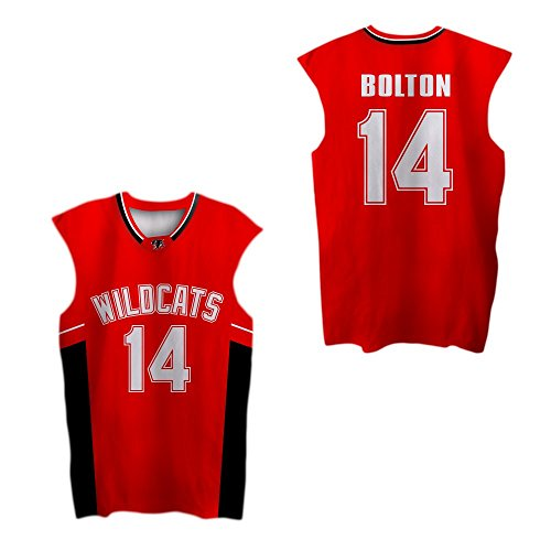 Zac E Troy Bolton 14 East High School Wildcats Red Patch Basketball Jersey (42)