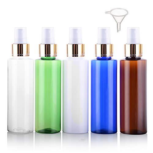 5 botellas de spray de 100 ml, Alledomain vacías de plástico con niebla fina y atomizador de viaje, pequeños recipientes líquidos recargables con 1 embudo para maquillaje cosmético de pelo (5