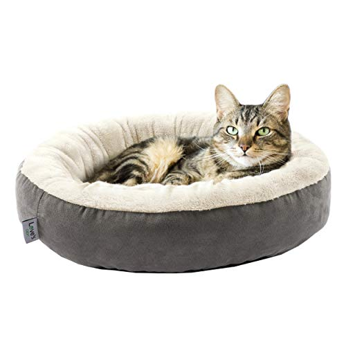 Love's cabin Round Donut Cat and Dog Cushion Bed, 20in Pet Bed for Cats or Small...