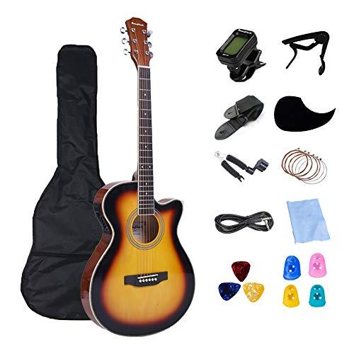 Rosefinch エレクトリック アコースティックギター ソプラノ 40インチ フォークギター 超薄い acoustic guitar 初心者向け 13点入門セット 収納バッグ&シールドケーブル&カポタスト&チューナーなど付き 【検品後発送で安心】(サン