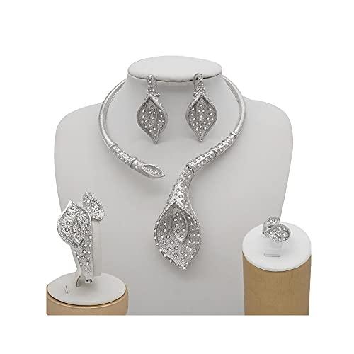 XiaoG Conjuntos de Joyas de Las Mujeres africanas, Collar de Novia de Cristal Pendiente de bañera Set de Anillo de Brazalete (Color : 2)