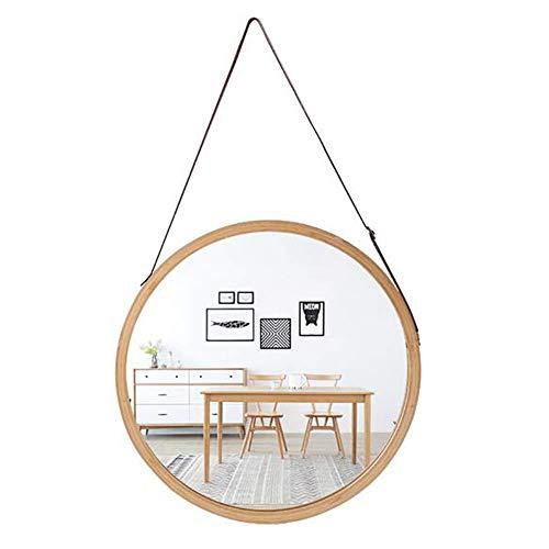 WANGXIAOLINJINGZI Espejo de Pared Redondo Colgante en Cuarto de baño y Dormitorio - Marco de bambú sólido y Correa de Cuero Ajustable