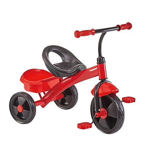 Niños Juguetes Bici del Bebé Niños del Triciclo Niños Y Niñas Trasera Cesta Grande Antideslizante del Pedal Asiento Portable del Mejor Regalo For Los Niños (Color : Red)