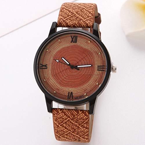 Exquisito, hermoso, decente, novedoso y único. Relojes para mujer Reloj de grano de madera de las señoras Black Shell anillo anual dial pareja reloj Harajuku estilo personalidad romano literal cuarzo