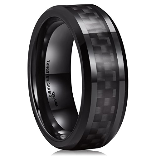 King Will GENTLEMAN 8mm Black Carbon Fiber Inlay Tungsten Carbide Ring Polished Finish Edges Comfort Fit13