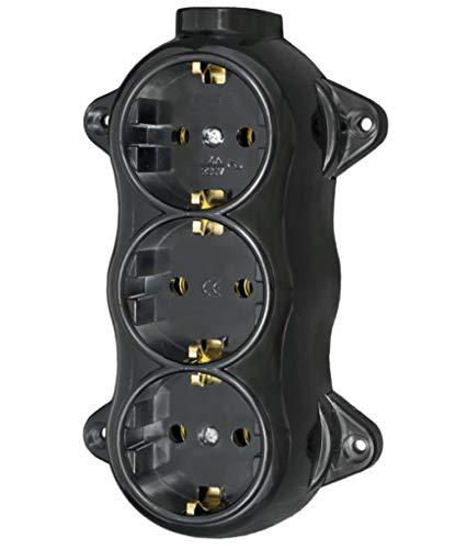 Enchufe Fest retro – 3 enchufes de 16 A – 250 V de montaje de montaje de latón grueso negro retro baquelita óptica ALT