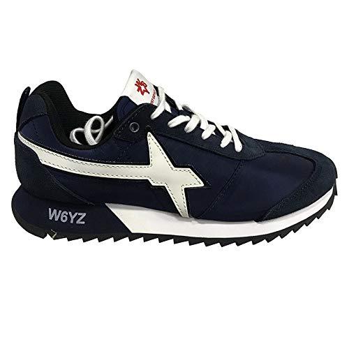 sneakers uomo wizz WIZZ W6YZ Sneakers Uomo in Tela Blu con Riporto in camoscio Blu e Pelle Bianca MOD Fly-M 1100 (40 EU)