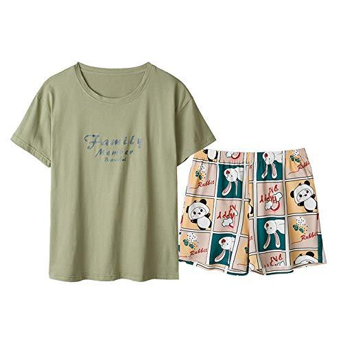 LEYUANA Ropa de hogar Linda para Hombres y Mujeres, Pijamas de Pareja, Traje de Dos Piezas de Manga Corta de Verano para Mujeres-L 2074
