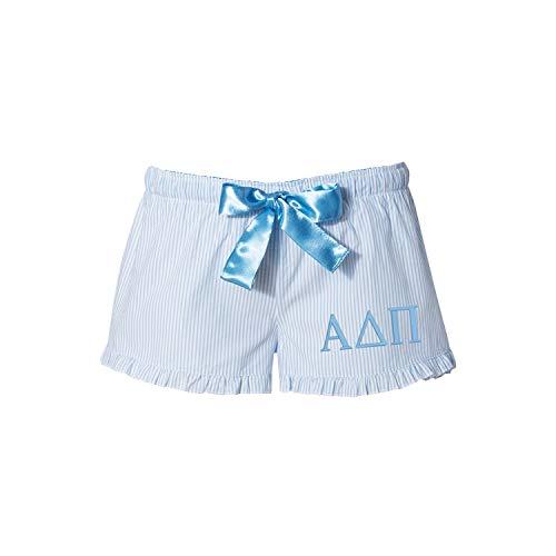Alpha Delta Pi Seersucker Boxershorts - ADPi Boxer - Nachtwäsche - Pyjamahose - Blau - M 6/8 US