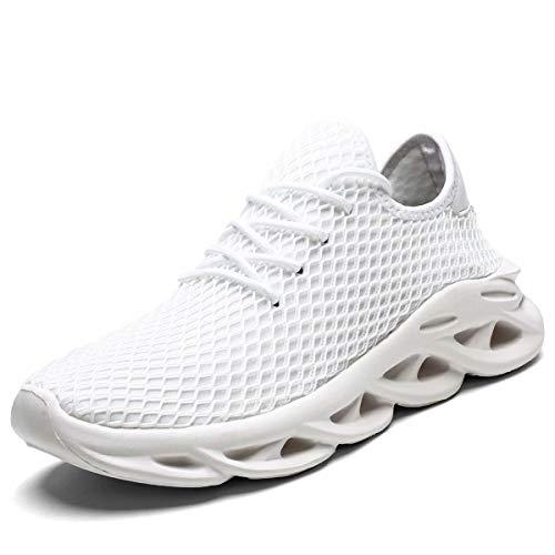 Wrezatro Sneakers, Laufschuhe für Herren, modisch, bequem, sportlich, Freizeit, atmungsaktiv, Tennis, Wandern, Workout, Fitnessstudio, Weiá (weiß), 47 EU