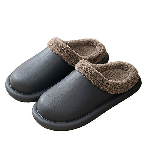Willsky Impermeable Zapatillas Hombres Mujeres Interior Acogedor Algodón Zapatillas De Desmontar Para Su Limpieza Antideslizante Casas Casual Shoes,Gris,42EU
