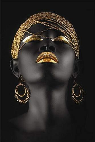 Goldohrringe, schwarzes Mädchen, Wandgemälde auf Leinwand, Kunstdruck an der Wand, afrikanische Frauen, Leinwandkunst, Drucke, Wohnzimmerwand, rahmenloses dekoratives Gemälde Z24 70x100cm