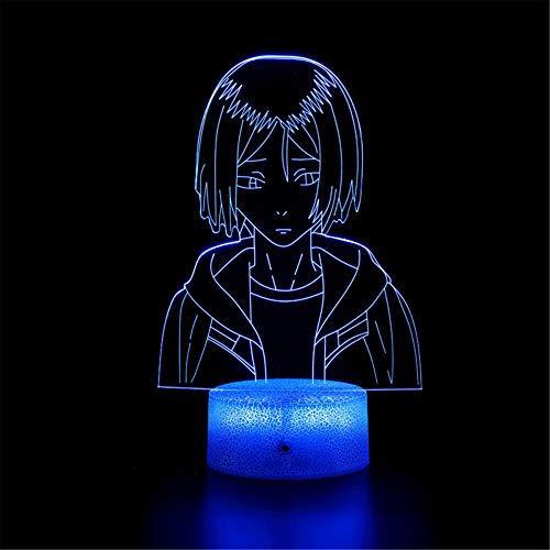 Lámpara 3D de ilusión 3D Haikyuu J Touch lámpara de escritorio para dormitorio de niños, cargador USB bastante fresco regalos para cumpleaños, día de San Valentín