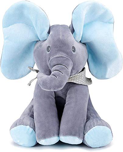 ESY Elefante Peluche de Juguete Música Juguete de Peluche para bebé Elefante Juego Ocultar y Buscar Muñeca de Peluche Animada de Felpa Gran Regalo Navidad para niños y Adultos