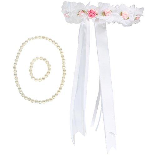 kilofly Schmuck-Set für Blumenmädchen, Kopfteil, Halskette und Armband