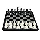 Juegos de tablero de ajedrez de viaje portátiles Conjunto de ajedrez Checkers portátil con plegable magnético Junta familia Actividad en los juegos de entretenimiento Negro regalos y negro Juego de aj