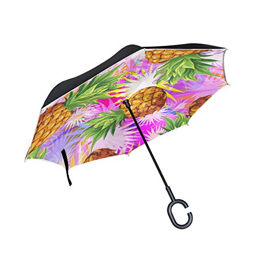 Rode met C-vormige handgreep, omgekeerd, dubbellaags, winddicht, voor regen in de open lucht.