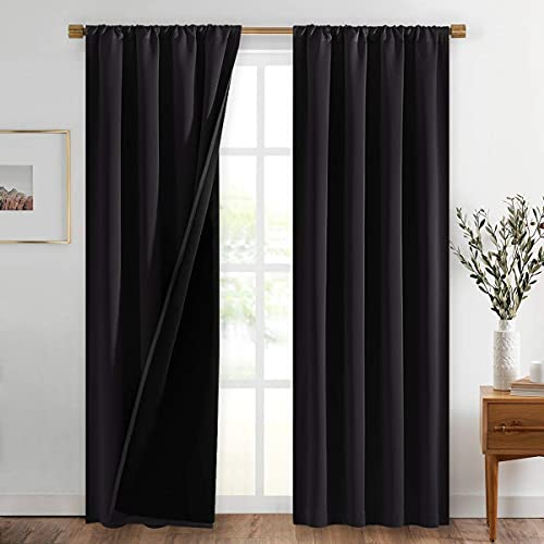 NICETOWN High-End Thermal Curtains, Full Blackout Curtains 84 Inches Long for Dining Room, Soundproof Window Treatment Drapes for Hall Room, Black, 42 inches Wide Per Panel, Set of 2 Panels