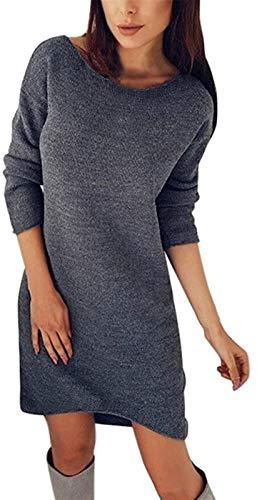 HAPPKING Damen Pullover Kleider Winterkleider Kleid Strickkleider Langarm Mode Stricksweat Strickpullover Lose Sweatkleid Minikleid (Farbe : Dark Gray, Größe : S)