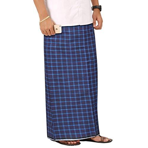 iinfinize Algodón Lungi Sarong - Manta para hombre, sin costura, para la playa, 2 m, color azul