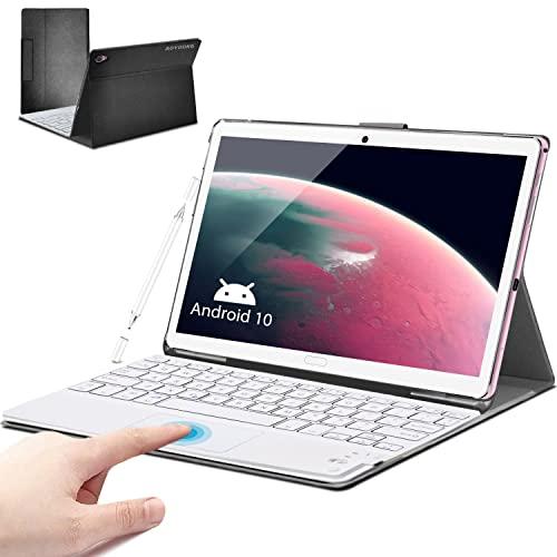 Tablet 10.8 Pollici con tastiera+ 5G WIFI 10 Core Android 10, 6GB RAM + 128GB ROM, 512GB Espandibili, Batteria 8000mAh, Fotocamera 16MP, 2560 * 1600,Dual SIM GPS Bluetooth Face ID OTG (Rosa)