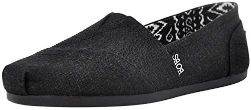 Skechers BOBS from Women's Plush Fashion Slip-On Flat, Black/Black, 9.5 W US