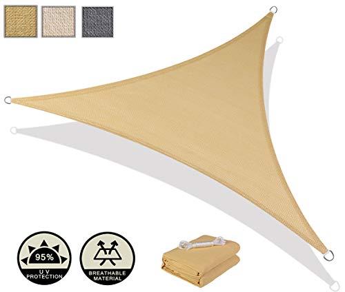 AXT SHADE Toldo Vela de Sombra Triangular 3,6 x 3,6 x 3,6 m, protección Rayos UV y HDPE Transpirable para Patio, Exteriores, Jardín, Color Arena