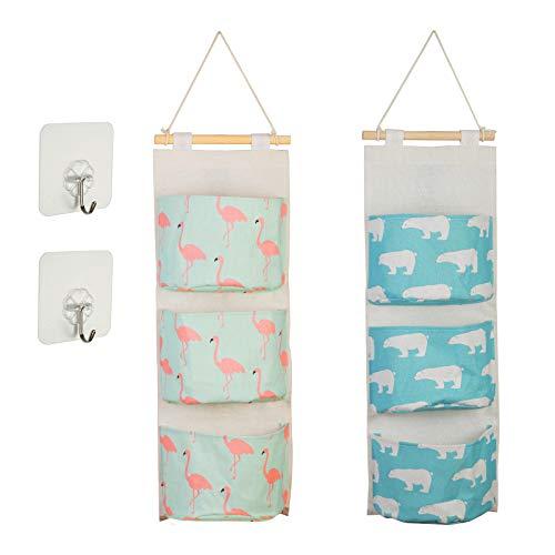 KAKOO 2er Hängender Organizer Wand Hängetasche mit 3 Taschen Hängeaufbewahrung Aufbewahrungstasche für Kinderzimmer Badezimmer Schlafzimmer Büro
