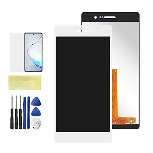 Pantallas LCD para teléfonos móviles Pantalla LCD L00 L05 L10 LCD Piezas de reparación del reemplazo del ensamblaje del digitalizador táctil/Ajuste para Huawei Ascend P7 (Color : White NO Frame)