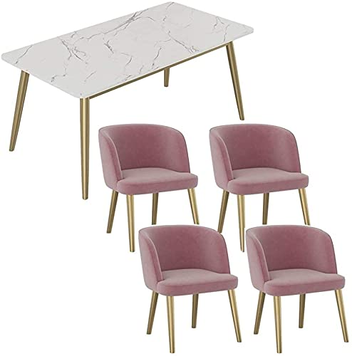 WANGQW Dining Table Set for Kitchen or Hotel Decor, Leisure Table and Chair Set Marble Table Back Chair Home Rectangular 120 60cm 4 Chairs Restaurant Meeting Room Office Hotel