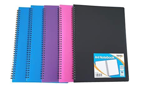 Toger Coloured Revise A4 Spiralbindung, liniert, perforiert, für Notizen, 70 Blatt, 140 Seiten, 5 Stück