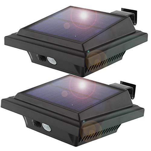 KEENZO LED Dachrinnenlampe, Solar Dachrinnenleuchte, 25 LEDs, 2 W, PIR-Sensor, Schwarz,Warmes Weiß Licht, 2er-Set