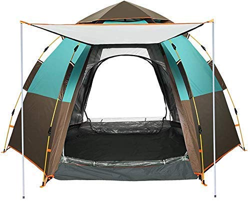 NDYD 5-8 Person Hexagonal Automatic Tent - Double Layer Outdoor Tents Instant Cabana Waterproof Shade Canopy Tarp for Wilderness Survival Mountaineering DSB (Color : ArmyGreen)