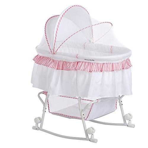 Dream On Me Lacy Portable 2-in-1 Bassinet, Pink/White