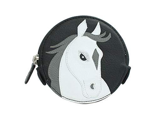 Mala Leder Münzbörse Münztasche, rund, Tier-Motiv 4155_11 Weißes Pferd