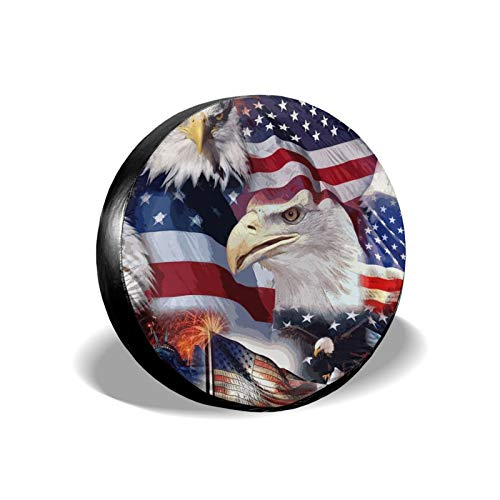 Spare Tire Cover 15 Inch Wheel ,Eagle American Patriotic Flag Car Wheel Cover For Men, Universal Car Cover Protective Cover Proof For Travel Trailer Rv, Suv,Camper Accessories And Various Vehicles