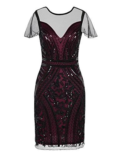 PrettyGuide Women 1920s Dress Vintage Sequin Embellished Cocktail Flapper Dress S Burgundy