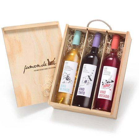 Geschenk für Weinliebhaber | Weingeschenk SPANIEN | Je 1 Flasche Rotwein, Weißwein & Roséwein aus D.O. Utiel Requena | Geschenkfertig verpackt in rustikaler Weinkiste aus Holz