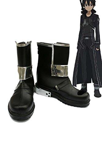 Sao Sword Art Online Anime Kirigaya Kazuto Kirito cosplay zapatos botas de negro Custom Made, Negro
