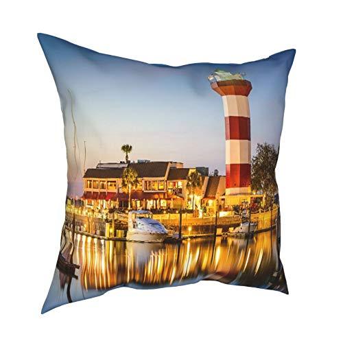 品牌 3D Print Throw Pillow Cover Case,Hilton Head South Carolina Lighthouse at Twilight,Modern Pillowcase for Sofa Couch Bed Car Set Home Decor 18'x 18' in Pillowcase Cushion Covers Zipper 2pcs
