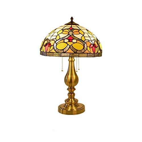 Tiffany - Lámpara de mesa para dormitorio, vintage, diseño artístico, base de hierro, vintage, E27