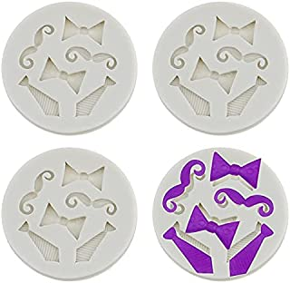 Luckycivia 4 Pack Bow Ties Beard Mini Silicone, Candy Chocolate Fondant Mold, Silicone Cake Mould (Gray)