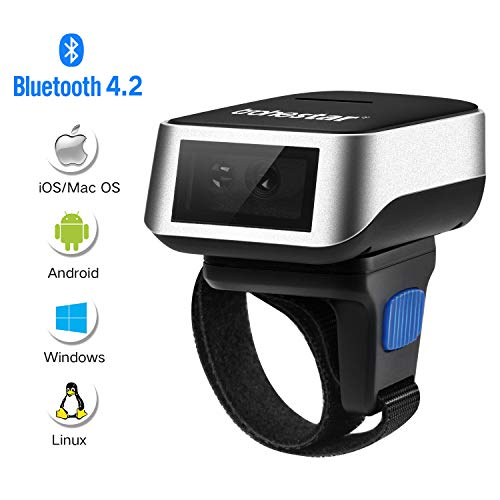 Escáner Inalámbrico de Código de Barras Bluetooth, Trohestar Usable Anillo Dedo Lector de Código de Barras Mini 1D, Escáner de Inventario con Cable USB Portátil 16MB Android IOS Windows Linux Mac OS