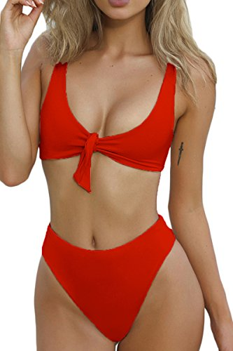 QINSEN Hipsters Sexy Scoop Neck Cropped Top Bandage 2PCS Swimsuit Bikini Sets Red S
