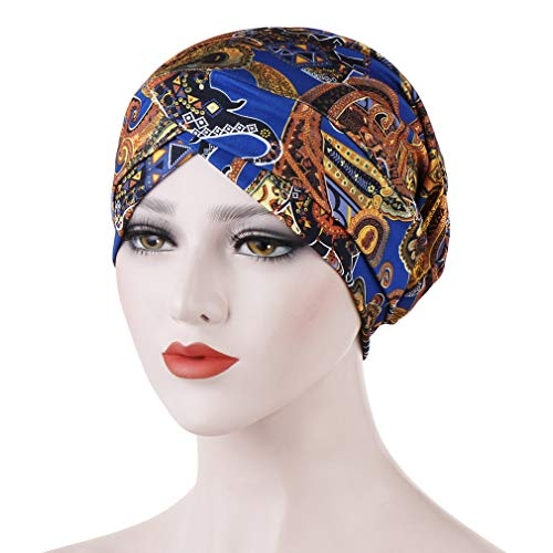 Dreamlulu Printed Floral Headband Hat Stretch Head Wrap Perfect Long Short Hair, Royal blue