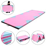 MAT EXPERT 4'x10'x2 Gymnastics Mat Thick Folding for Tumbling Exercise Gym Fitness Mat with Hook & Loop Fasteners (Pink/Blue-Small Triangle)